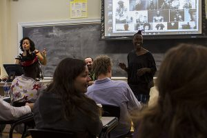 Choreographer nora chipaumire visits Andrea Benjamin's Identity and Politics class, November 2016