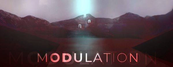 """A dark photo of mountains with the word """"Modulation"""" appearing in a neon pink across the bottom."""