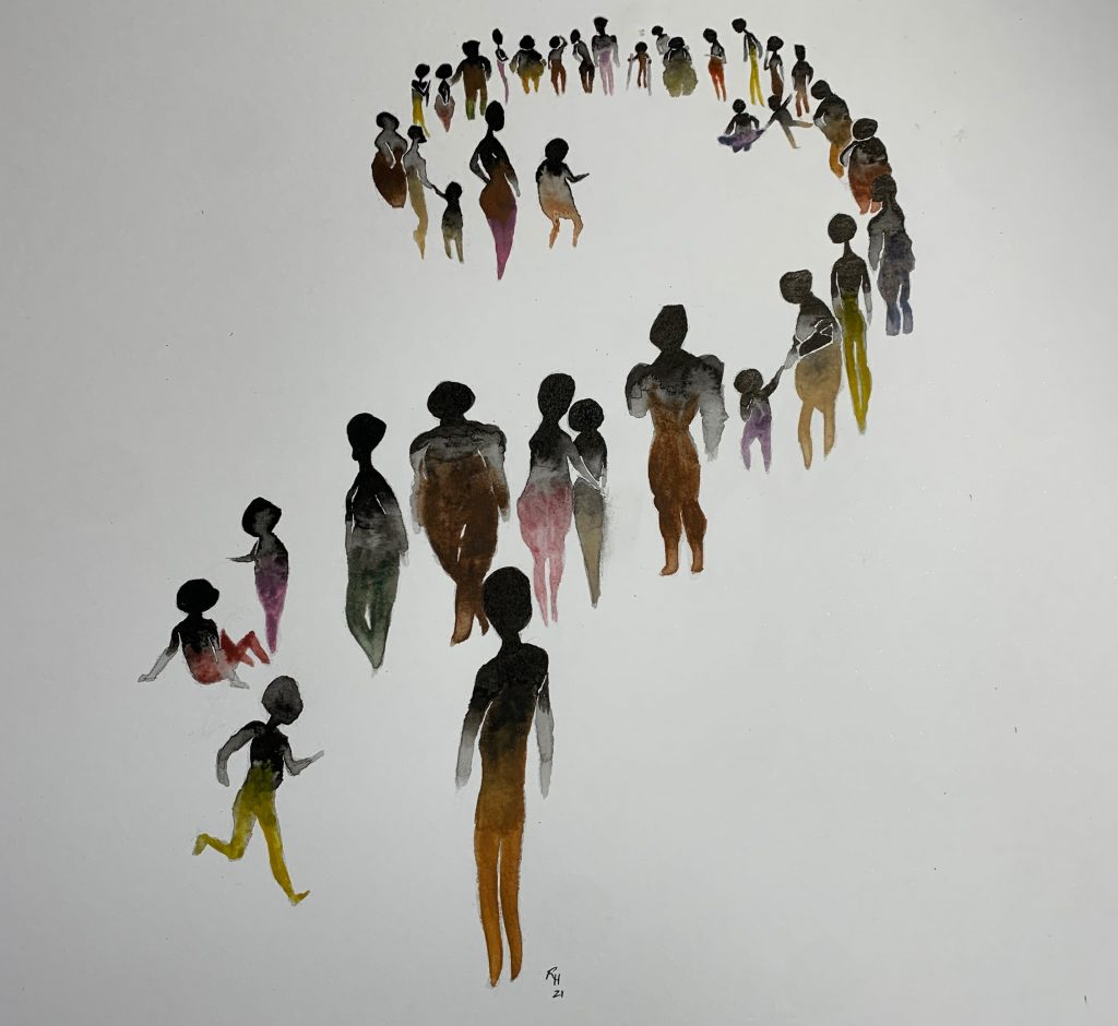 A watercolor of people in a spiral formation represents the performance Eclipse by Tommy Noon and Murielle Elizeon