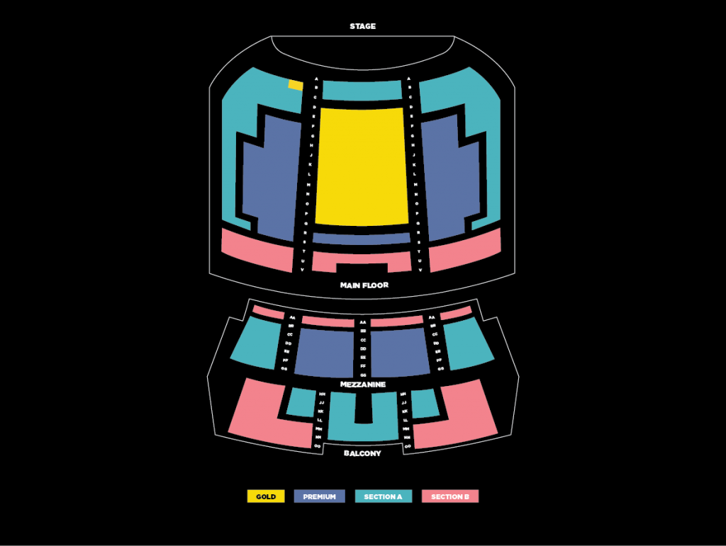 A map of Memorial Hall's seating sections.
